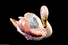 Herend Guild Swan Water Taxi Figurine Raspberry Blue Flawless Limited Ed | eBay