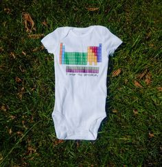 I Wear This Periodically Know an expecting nerd at heart? This periodic table of elements baby shirt, toddler shirt, or baby bodysuit is colorful, funny, AND punny! The perfect gift for science teachers as well and features all of the elements.