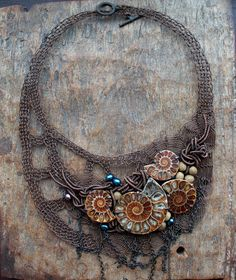 ANCIENTRY Fossil Ammonites Wire Crocheted Statement OOAK by Ksemi