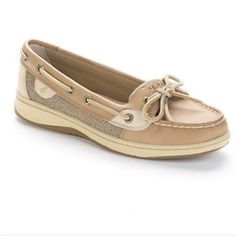 NEW Sperry Top-Sider Angelfish Boat Shoe NEW Sperry Top-Sider Angelfish Boat Shoe in Linen/Oat! Stain and water-resistant leather upper for durable and lasting wear! Super comfy!! Size 9. Never worn, they do not have a box & have been stored, so some slight imperfections due to that. Please see photos! Sperry Top-Sider Shoes Flats & Loafers