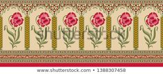 indian mughal flower border background Lace Border, Boarders, Stock Foto, Lace Design, Illustration, Composition, Paisley, Texture, Embroidery