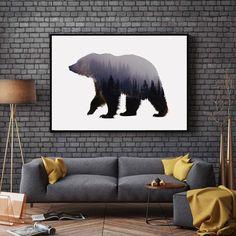 Urso Art Print belas artes papel de parede pendurado animais floresta Poster sala urso decoração da parede Pictures AP043 em Pintura & Caligrafia de Home & Garden no AliExpress.com | Alibaba Group