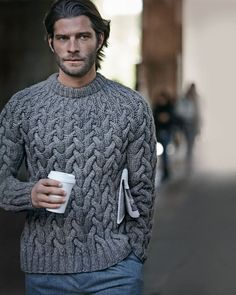 wool cable knit chunky sweater from Michael Kors // Lincoln Pilcher (ex rugby player/ model/ restauranteur) menswear, men's fashion and style Winter Pullover Outfits, Winter Outfits Men, Mens Fashion Sweaters, Sweater Fashion, Men Sweater, Crewneck Sweater, Sweater Cardigan, Gray Sweater, Chunky Cable Knit Sweater