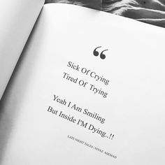 Tired of life quotes - Sick of crying, tired of trying Yeah I am smiling but inside I'm dying Try Quotes, Karma Quotes, Pain Quotes, Life Lesson Quotes, Heart Quotes, Reality Quotes, Mood Quotes, Want To Die Quotes, Drake Quotes