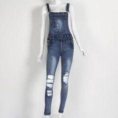 a4e52e893141 2017 Summer Hole Jeans Denim Jumpsuit Overalls rompers women one piece  jumpsuits sexy bodysuit salopette femme long pencil