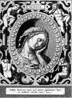 Acedia, engraving by Hieronymus Wierix, 16th century