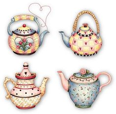 ✯ Four cozy tea pots Tee Kunst, Pintura Country, Country Paintings, Mary Engelbreit, Teapots And Cups, Tea Art, Decoupage Paper, Tole Painting, Retro