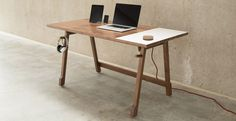 This Desk Keeps Your Cords In Order and Has a Built-In Whiteboard
