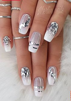 Elegant Nails, Classy Nails, Fancy Nails, Stylish Nails, Pink Nails, Cute Nails, Glitter Nails, Cute Acrylic Nail Designs, Pretty Nail Designs