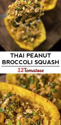 Thai Peanut Broccoli-Stuffed Spaghetti Squash