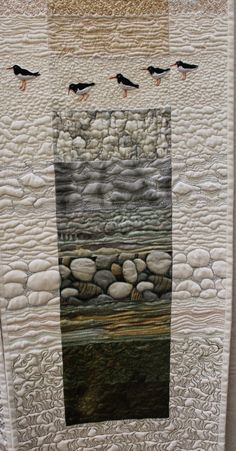 How To Make A Rag Quilt DIY, 3 Easy Beginner's Tutorials; These quilts are gorgeous, rag quilting is my favorite technique by. Beach Quilt, Landscape Art Quilts, Bird Quilt, Quilt Modernen, Textile Fiber Art, Thread Painting, Quilted Wall Hangings, Free Motion Quilting, Fabric Art
