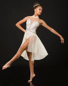 Leotard With Attached Skirt: Silver sequin mesh, ivory spandex, nude stretch mesh, and ivory mesh ; Trim: Pearl and sequin beaded trim ; Pearl And Sequin Beaded Headpiece Included ; Modern Contemporary Dance, Contemporary Dance Costumes, Lyrical Dance, Dance Leotards, Dance Tights, Ballet Costumes, Beaded Trim, Silver Sequin, Dance Outfits