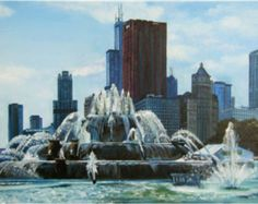 Chicago City Oil Painting - 12x18in Giclee Print | Limited edition ...