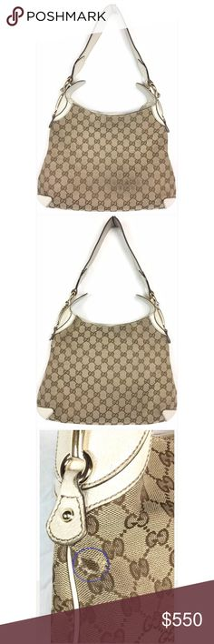 Gucci Canvas Leather Creole Hobo Shoulder Handbag Normal Wear | The bag has wear on bottom leather corners/trim as well on the shoulders strap, the leather as cracks, The bag has dirty spots on the exterior and a few on the interior, and a few rips on the canvas. 100% Authentic  The garment has been worn and shows natural signs of overall use, the exact issue will be detailed in the condition description.  Wear on leather strap | Wear to bottom corners | Hardware: scratches on horse…