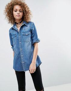 #NewYear #ASOS - #ASOS ASOS Denim Boyfriend Shirt in Mid-Wash Blue - Blue - AdoreWe.com