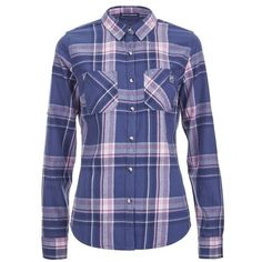 Superdry Women's Winter Lumberjack Shirt - Quin Check ($68) ❤ liked on Polyvore featuring tops, multi, shirts & tops, blue top, checkered shirt, blue checkered shirt y blue shirt