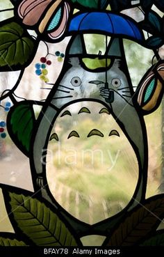Stained glass window depicting one of the most famous of Miyazaki's animation characters- 'Totoro',Ghibli Museum, Tokyo.----- DO WANT