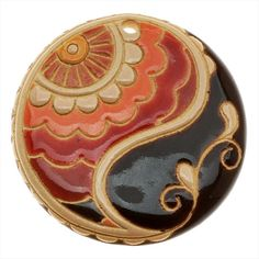 GOLEM STUDIO GLAZED CERAMIC DISC PENDANT ART DECO PAISLEY DESIGN 46MM 1 from beadaholique.com