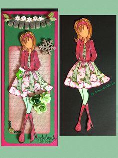 Julie Nutting Prima Dolla Stamp - Christmas Steffi: altered jacket, skirt, shoes