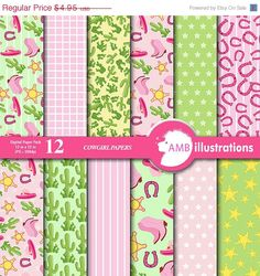 Cowgirl digital paper, Cowgirl digital papers, Cowgirl pink papers, vector graphics, patterned papers, perfect for scrapbooking, product design,
