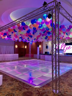 Look at this glow! Our team installed this balloon ceiling for a very special party. So much fun!