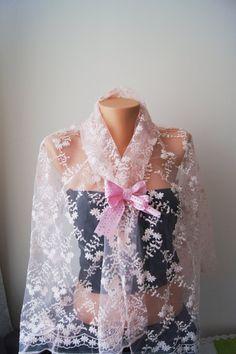Salmon / Blush Lace Shawl Ribbon Trim  Lace #gothicwoman #weddingclothing  #weddingglove #weddingaccessories  #weddingshopping #weddinggift #weddingdiscount