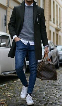 Men's Fashion, Fitness, Grooming, Gadgets and Guy Stuff - Men's Style & Fashion Mode Masculine, Fashion Mode, Mens Fashion, Fashion Trends, Guy Fashion, Jeans Men Fashion, Men Winter Fashion, Fashion Ideas, Mens Smart Casual Fashion