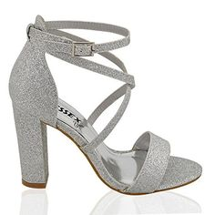 Essex Glam Womens Strappy Block Heel Silver Glitter Ankle Strap Sandals 8 B (M) … – Dance Clothing and Footwear Silver Chunky Heels, Silver Block Heels, Silver Strappy Heels, Silver Glitter Heels, Strappy Block Heels, Ankle Strap Block Heel, Glitter Sandals, Ankle Strap Sandals, Ankle Straps