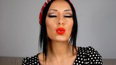 Pinup makeup with bright red lips