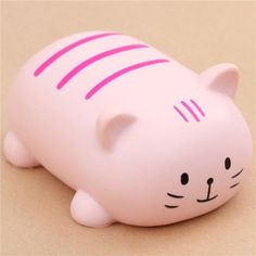 cute beige cat with pink stripe squishy kawaii scented