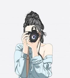 A woman holds a stylish camera and wears a denim jacket Premium Vector Tumblr Girl Drawing, Cute Girl Drawing, Girly Drawings, Art Drawings Sketches, Cute Girl Wallpaper, Cute Wallpaper Backgrounds, Art And Illustration, Camera Illustration, Girl Cartoon
