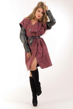 Пальто с рукавами кожзам lilo.com.ua