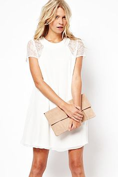 White Short Sleeves Lace Splicing Chiffon Shift Dress