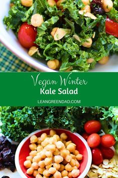 A vegan kale salad recipe that is easy, quick and delicious. This is just what you are looking for when you want a lot of flavor, but not a lot of hassle! #leangreendad #plantbased #veganrecipes
