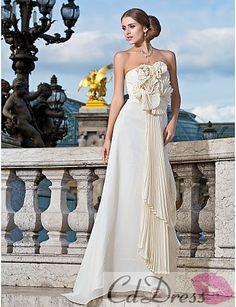 Hot A-line Strapless Brush Train Chiffon Prom Dress