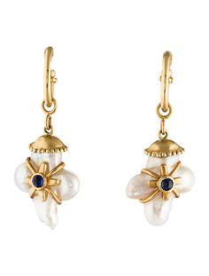 Pearl Cross & Sapphire Earrings