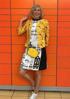 When the show for the Norwegian Sewing Bee were made, we decided to travel on a Fabric-Safari once a year. Orange Jacket, Vera Bradley Backpack, Saints, Sewing, Fabric, Jackets, Bee, Passion, Style