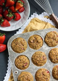 Nutritious and healthy whole grain strawberry zucchini muffins with a hint of lemon and a little crunch from chia seeds. Naturally sweetened, low fat and amazingly delicious!