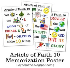 LDS Articles of Faith memorization poster
