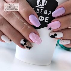 The Number One Article On Elegant Nails Classy Simple 21 - Disney Acrylic Nails, Cute Acrylic Nails, Elegant Nail Designs, Elegant Nails, Disney Nail Designs, Nail Art Designs, Nails Design, Disneyland Nails, Mickey Mouse Nails