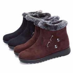 US Size 5-10 Winter Women Keep Warm Boots Cotton Slip On Plush Flats Shoes - US$41.65
