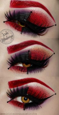 Idee für Karneval: Schwarze künstliche Wimpern mit rot-schwarzem Augen Make-Up… Idea for Carnival: Black artificial eyelashes with red-black eye make-up! To the costume as red queen Iracebeth from Alice in Wonderland. Looks Halloween, Scary Halloween, Halloween Face Makeup, Halloween Ideas, Vintage Halloween, Red Hair Halloween Costumes, Halloween Make Up Scary, Disney Halloween Makeup, Jester Halloween