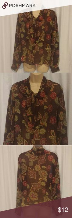 "Oscar by Oscar De La Renta Brown Floral Top 10 Great condition. Sheer. Attached scarf collar. Button front.   All clothes are in excellent used condition. No stains or holes.  Content: 100% polyester  Bust: 40"" Length: 24""  Posh8 Oscar An Oscar De La Renta Tops Blouses"