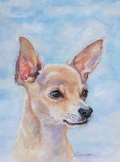 Jan Weaver PASTEL Chihuahua Drawing, Chihuahua Art, Animal Paintings, Animal Drawings, Art Drawings, Weavers Art, Watercolor Animals, Dog Portraits, Dog Art