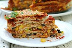 This multi-layered Black Bean Enchilada Pie is full of flavor but packed full of healthy ingredients! Chicken Tetrazzini Casserole, Chicken Wild Rice Casserole, Stacked Enchiladas, Black Bean Enchiladas, Good Healthy Recipes, Vegetarian Recipes, Healthy Foods, Enchilada Pie, Thing 1