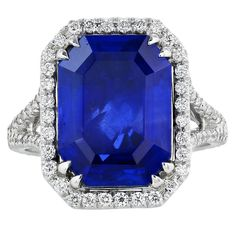 7.20 Carat Untreated Burma Sapphire Diamond Gold Cluster Ring | From a unique collection of vintage cluster rings at https://www.1stdibs.com/jewelry/rings/cluster-rings/