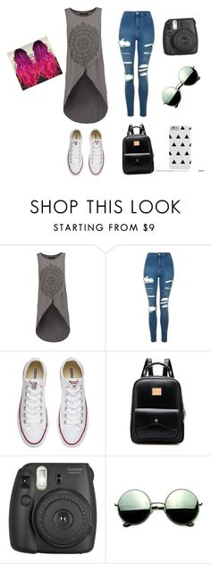 """""""Summer outside outfit for gothic people"""" by deznyuk ❤ liked on Polyvore featuring even&odd, Topshop, Converse, Fujifilm and Revo"""