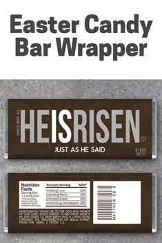 """Proclaim and good news that Jesus has risen! Wrap up your favorite Hershey's bars in these Easter wrappers that feature the words of Matthew 28:6, """"He is risen, just as he said!"""" They make great Easter basket gifts, favors for Easter parties and gatherings, or just a wonderful way to spread the good news to friends, neighbors, and even strangers! #eastercandybarwrapper #printablecandybarwrapper #ad #eppartyad"""