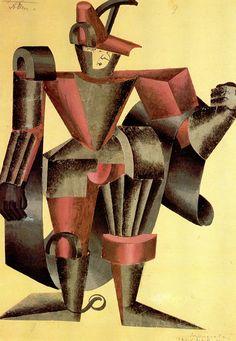 """Павел Челищев.  Эскиз костюма Бурдийона (рыцаря в доспехах) к трагедии """"Сованарола"""". 1922"""