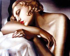 Tamara de Lempicka (Polish, 16 May 1898 – 18 March 1980): The Sleeper, Oil on canvas. Art-Deco style.